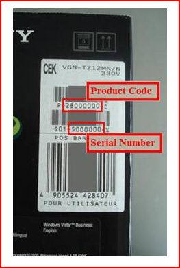 sony laptop serial number search